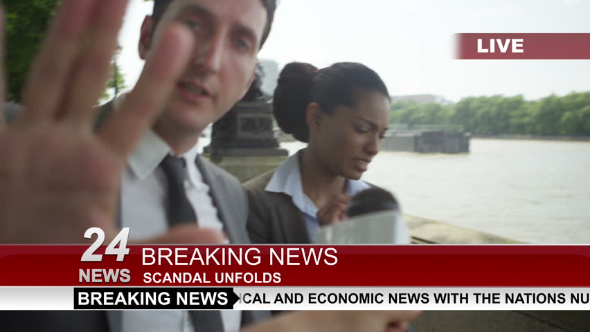 4K Couple in business dress in London being bothered by news reporter trying to get an interview. Shot on RED Epic.
