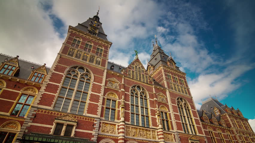 amsterdam summer tourist famous national museum 4k time lapse netherlands