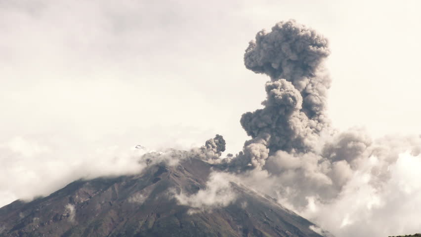 Tungurahua Volcano Crater Telephoto Shot During 2015 Explosion , Large Quantity Of Volcanic Ash Blowing Into The Sky