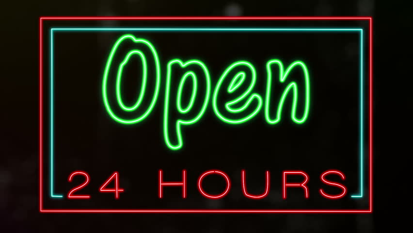 Flashing neon Open 24 hours sign.