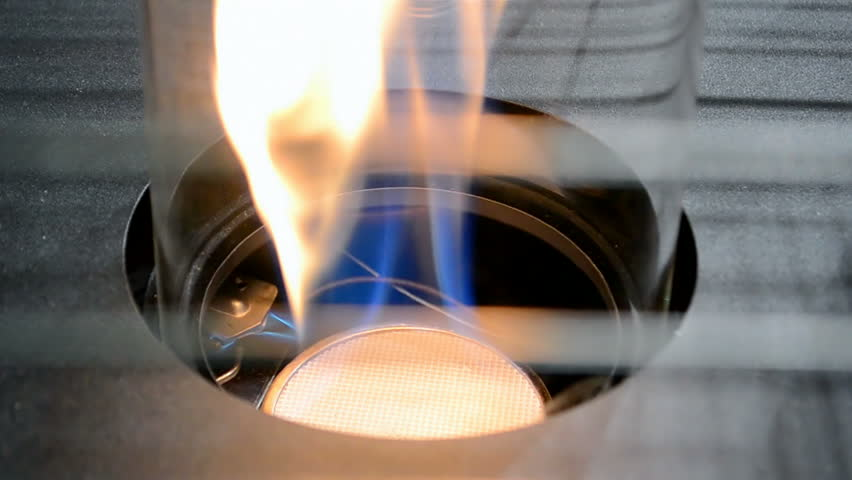 gas flame in gas-stove, cooking closeup