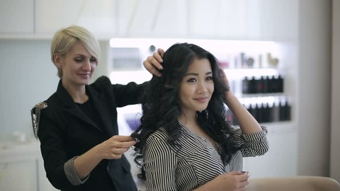 Attractive asian ethnicity woman at the beauty salon