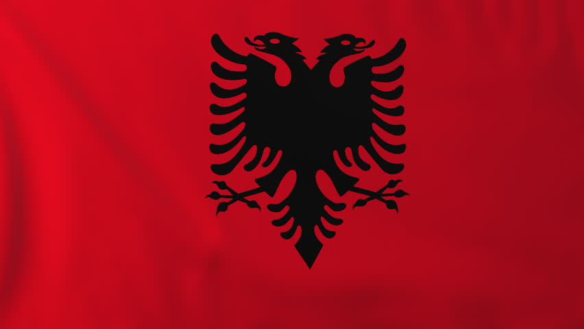 Flag of Albania, slow motion waving. Rendered using official design and colors. Highly detailed fabric texture. Seamless loop in full 4K resolution. ProRes 422 codec.