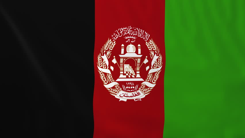 Flag of Afghanistan, slow motion waving. Rendered using official design and colors. Highly detailed fabric texture. Seamless loop in full 4K resolution. ProRes 422 codec.