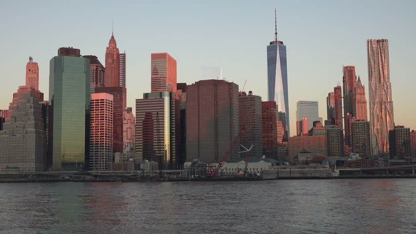 Sunrise View Of Downtown Manhattan From Brooklyn   4K Stock Video Clip