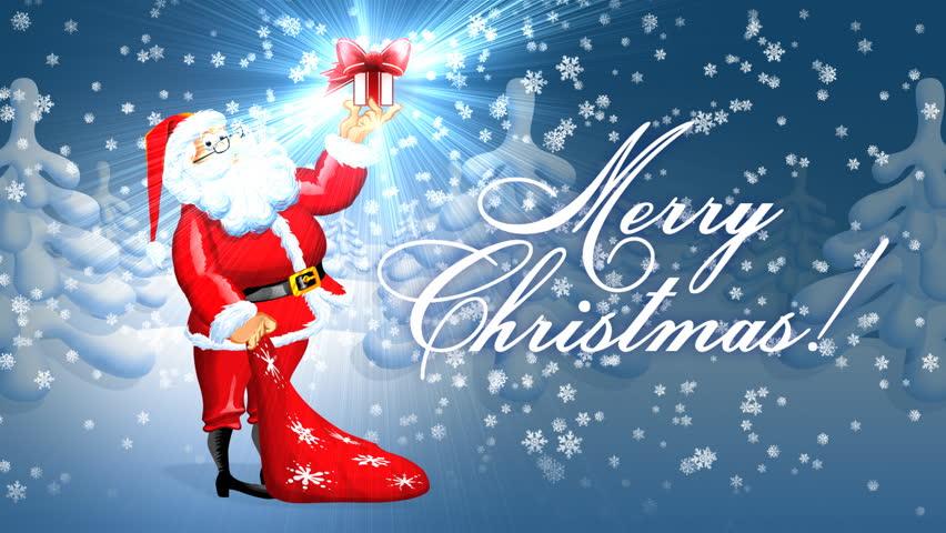 Merry christmas wide shot and closeup santa claus enters into a merry christmas wide shot and closeup santa claus enters into a shot and takes m4hsunfo