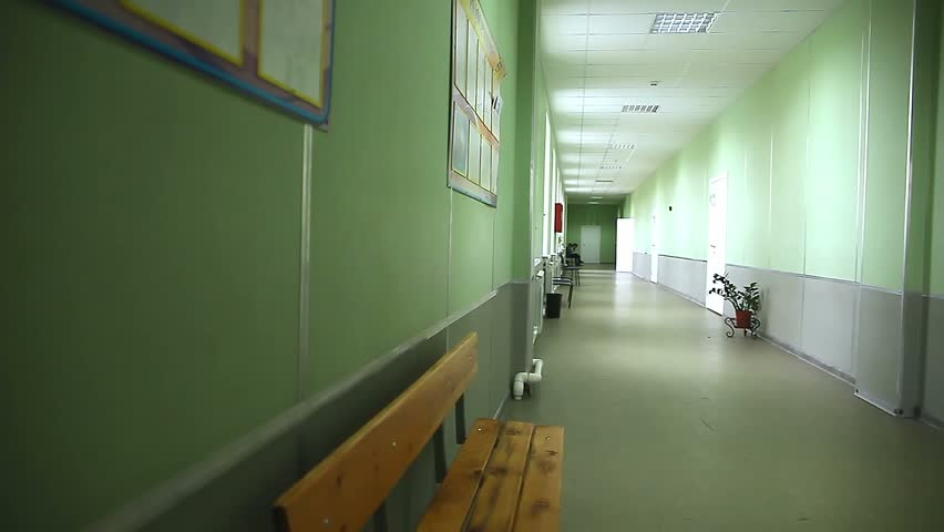 School Empty Corridor Interior Green Wall To Right Classes