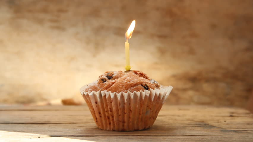 Cupcake and candle - happy birthday idea/ Holidays greeting concept