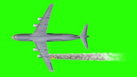 Concept aerial accident. engine on fire. Burn plane crash. Alpha channel.