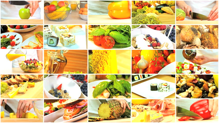 Montage with clock showing time to change to a modern healthy montage collection of fresh tasty meal choices for a modern healthy eating lifestyle hd stock forumfinder Image collections