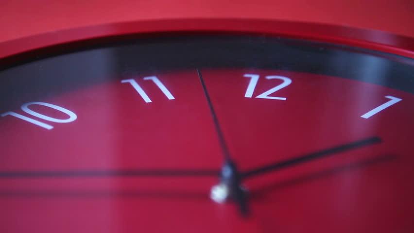 Red wall clock woriking | Shutterstock HD Video #12979004