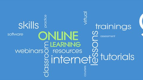 Online education kinetic typography animation. E-learning presentation.