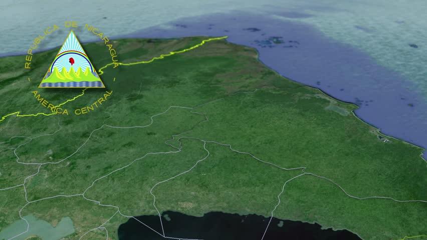 Nicaragua Flag And Map Animation Stock Footage Video - Nicaragua map hd