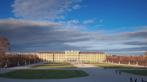 Schonbrunn Palace (Schloss Schonbrunn), Vienna (Wien), Austria. This Baroque palace is one of the most important architectural, cultural and historical monuments in Austria. (4K Timelapse)