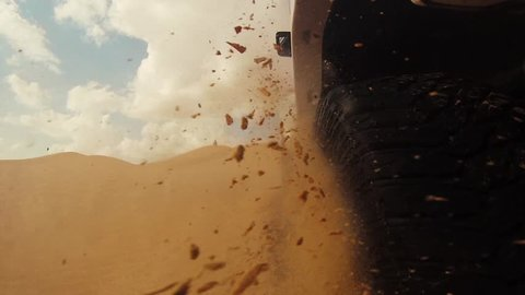 camera car in the sahara desert