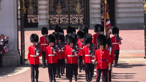 LONDON, ENGLAND - CIRCA 2015 - The changing of the guard at Buckingham Palace, London.