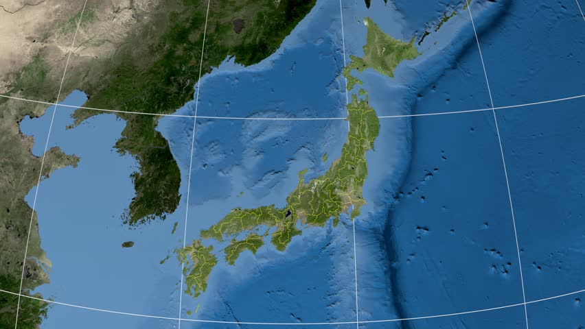 Hiroshima Map Of Japan.Hiroshima Prefecture Extruded On The Stock Footage Video 100