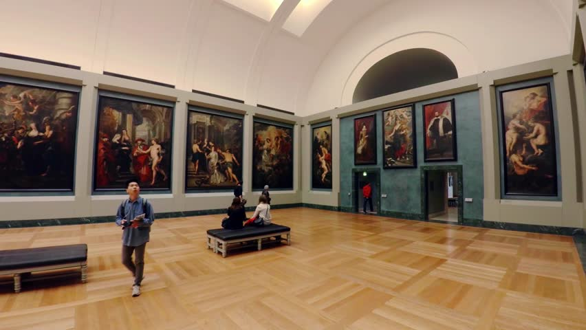 PARIS, FRANCE - AUTUMN, 2015: Art Gallery of the Louvre Museum in Paris. France. France. Shot in 4K (ultra-high definition (UHD)).