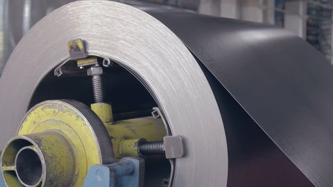 metal coil rotate on the machine