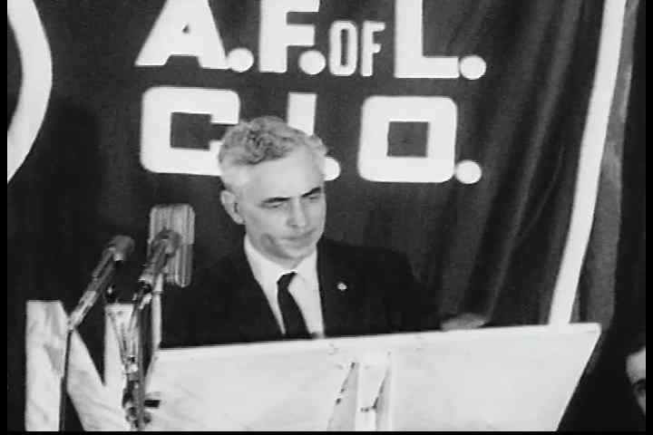 CIRCA 1960s - International president, Jim Carrey, discusses the labor movement at an AFL-CIO civil rights rally in the 1960s.