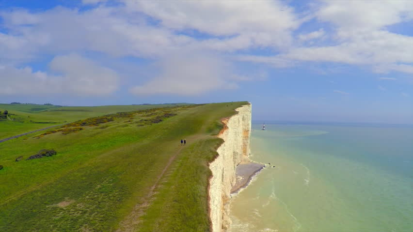 BEACHY HEAD, ENGLAND - CIRCA 2015 - Beautiful aerial shot of the White Cliffs of Dover at Beachy Head, England.