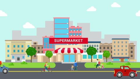 Flat style cartoon supermarket mall building and transport street animation reveal.