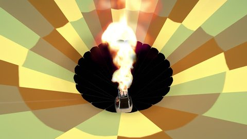 Alpha channel animation of the burner directing a flame, as seen from inside the hot air balloon.