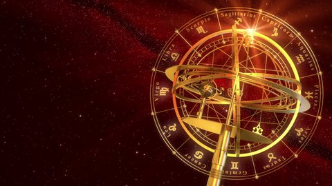 Armillary Sphere And Zodiac Signs. Red Background. 3D Animation.