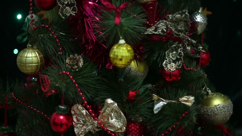christmas tree with golden and red toys hd stock footage clip - Christmas Tree Bubble Lights