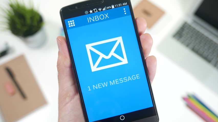 New email message notification on smartphone device. Opening the email.