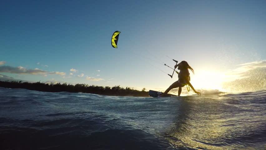 Extreme Kitesurfing at Sunset. Summer Ocean Sport in Slow Motion. Girl Kite Surfing in Bikini #13139564