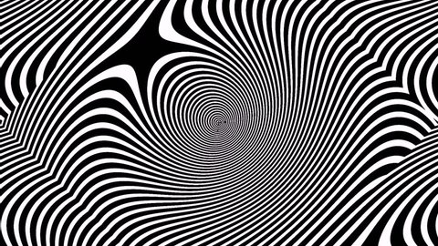 In the style of optical visual illusions - Op art. Background black and white video 3D. Hypnotic movement strips.
