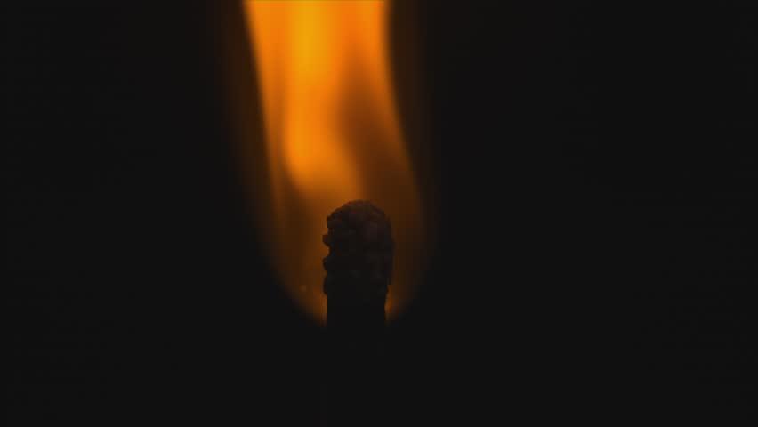 Match head lighting macro in slow motion shot on Phantom Flex 4k at 1000 frames per second on black background - Alpha Matte