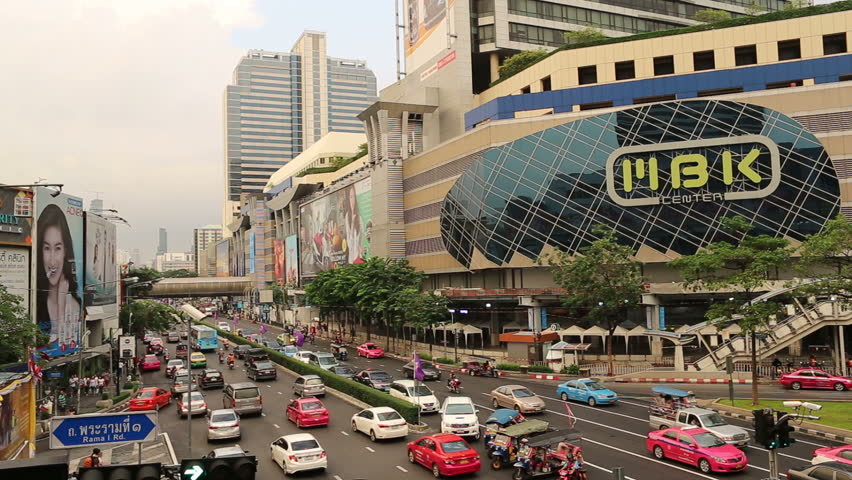 Traffic Congestion In Front Of Mbk Center Bangkok Thailand November