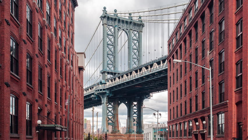 Time lapse view of Manhattan bridge from Washington street, Brooklyn, New York, USA | Shutterstock HD Video #13171454