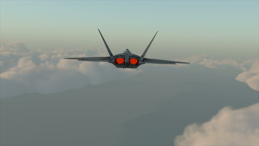 Military plane fighter jet F-22 raptor drops bombs from a high altitude. realistic 3d cg animation
