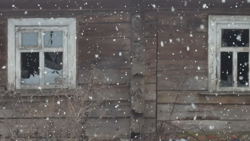 Abandoned Old Wooden House With Broken Door Frame And No
