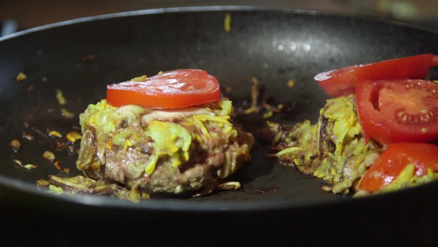 Cooked ground beef patties