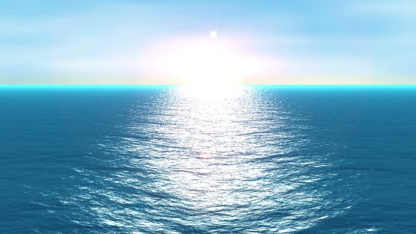 A quiet scene of a blue wavy ocean in motion over a cloud sky and smooth sunshine.