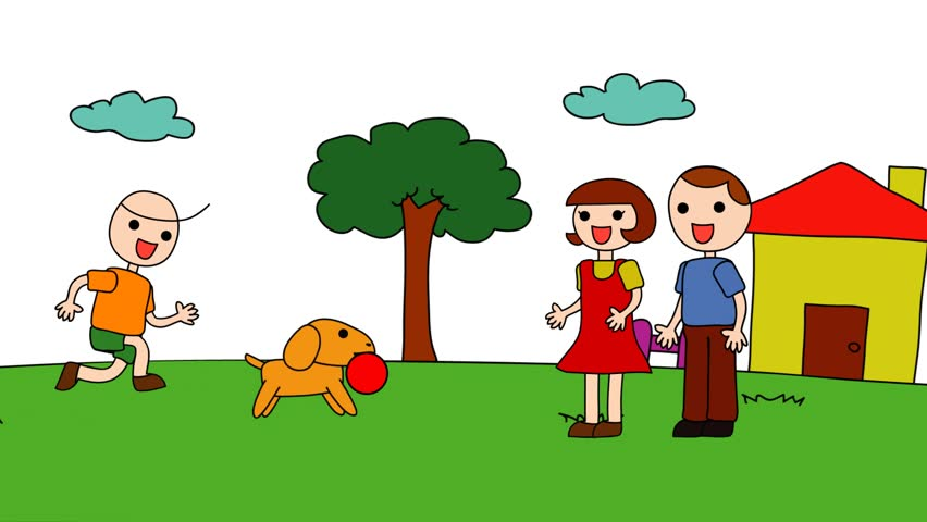 Hd00 12animation Cartoon Of A Kindergarten Drawing Of A Child In A