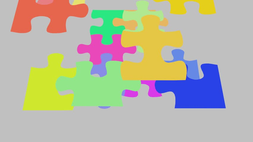 Final puzzle piece falls into place, 2d animation cgi jigsaw motion