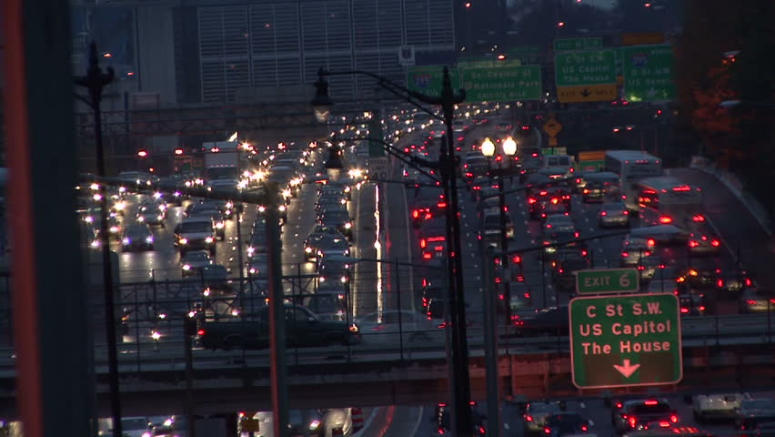 Timelapse of traffic at night in Washington DC