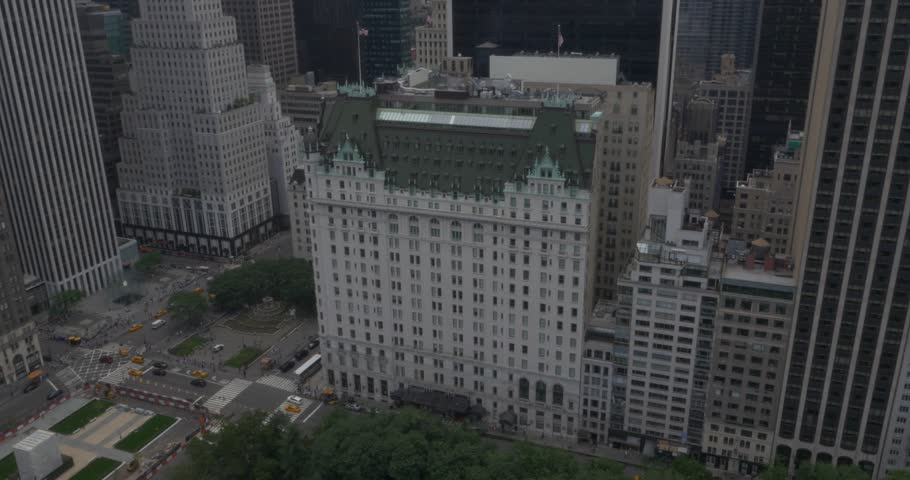 Aerial Shot of The Plaza Hotel in New York City ( New York City- July 2015)