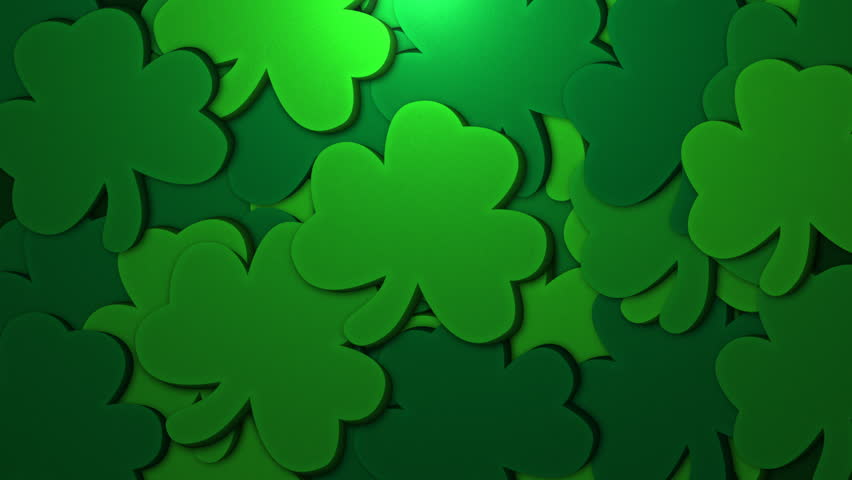 St. Patrick's animated clovers against a green background. For use as a general backdrop, design element or as an overlay for placement of text or other copy. | Shutterstock HD Video #13402163