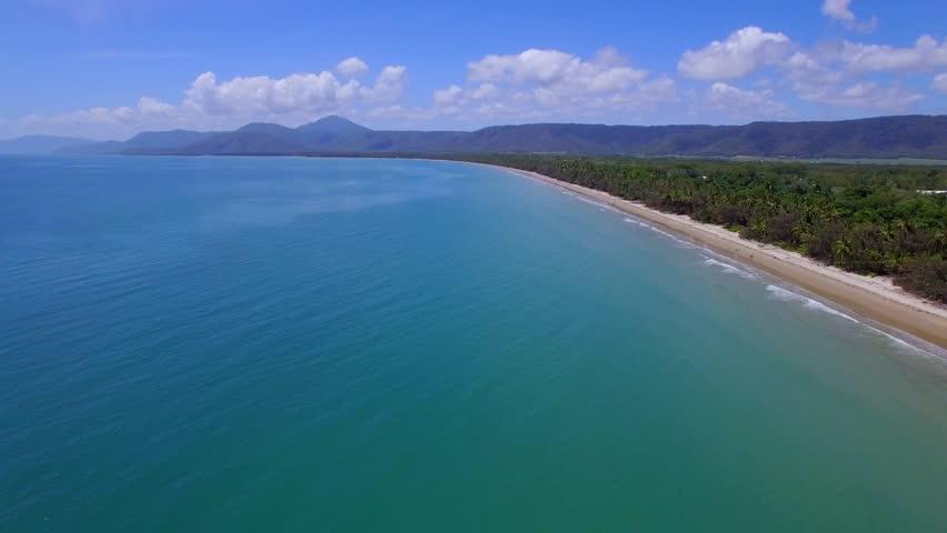 Aerial Tropical Rainforest Beach Port Douglas Queensland Australia