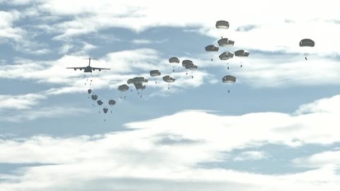 ZARAGOZA SPAIN, NOVEMBER 2015, Paratroopers Jump Out C17 Aircraft