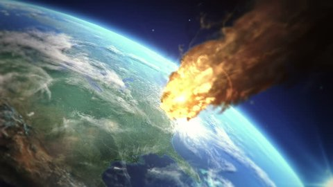 Burning meteor heading to earth atmosphere very realistic motion and vfx Extreme details in HD