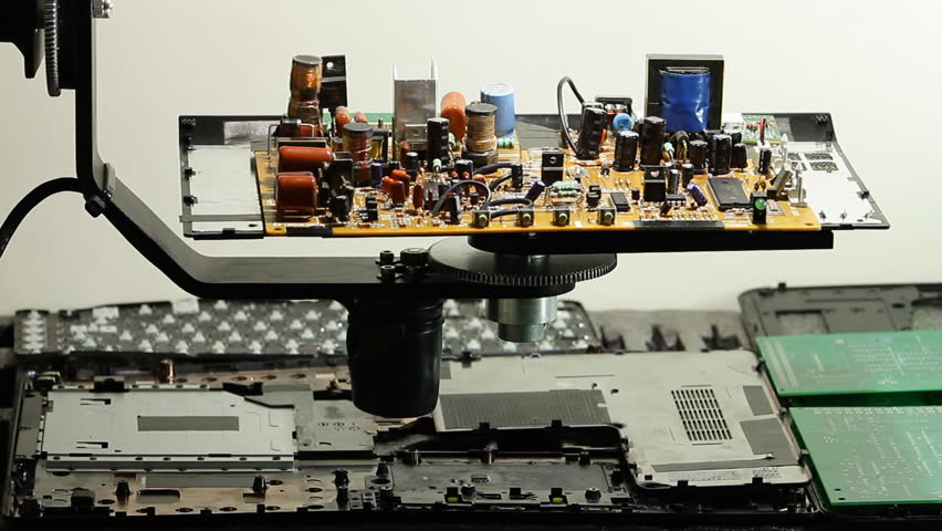 Radio components on electronic board on rotation stand at electronics factory | Shutterstock HD Video #13470134