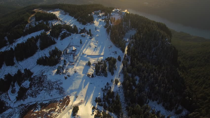 Aerial video of Grouse Mountain in Vancouver BC, Canada.