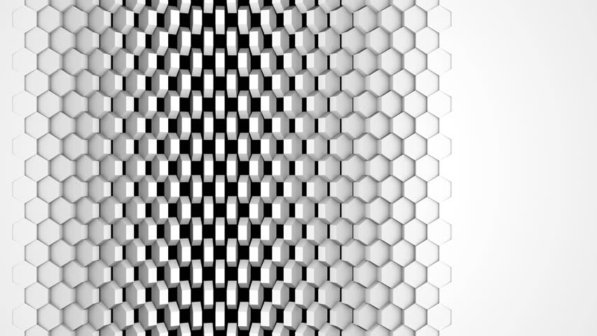 White Hexagon Bakground Wipe. Left to Right. High-tech 3D animation. 4K Ultra HD. Alpha Luma Matte included.